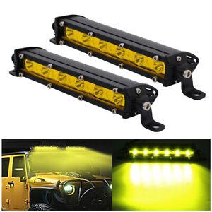 "2PCS 7"" 18W Slim Yellow LED Light Bar Single Row Spot Fog Driving Car Truck Lamp"