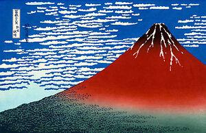 Red Fuji, Southern Wind Clear Morning, Katsushika Hokusai, Poster, Canvas Print