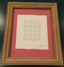 """MARY RUTHERFORD 1985 Quilt Embossed Print 6"""" x 7"""" Matted Framed 58/950, Signed"""