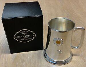 Cooper Ludlum Sheffield England Silver Plated 21st Beer Tankard Mug