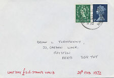 "2469 1972 Wilding 1 1/2 D and Machin 5 D on superb LAST DAY Cover!!! ""ROYSTON"""