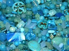 NEW 8/oz Shades of BLUES LOT 6-25mm MIXED  LOOSE BEADS LOT GLASS