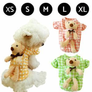 Summer Cute Plaid Pocket Bear Pet Dog Shirt Coat Clothes Puppy Cat T-Shirt Tops