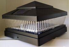 Set of 10 Garden Plastic Black 6 X 6 Outdoor 5 LED 78Lumens Solar Post Cap Light