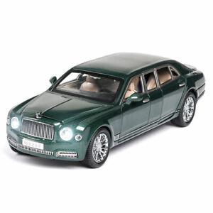 Vehicle Sound Light Green1:24 Bentley Mulsanne Limousine Model Car Diecast