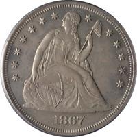 1867 Seated Liberty Dollar Proof OGH PCGS PR63 Nice Luster Nice Strike