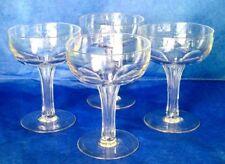 "THOMAS WEBB Art Deco Set of 4 Hand Blown Crystal Pan Champagne 4.5"" Glasses"