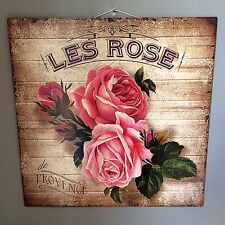 "French Country Style ""Les Rose De Provence"" Metal Plaque,Floral Sign"