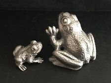 2 Solid Pewter Frog Frogs Toad Mama Baby Silver Metal Statues Figurines