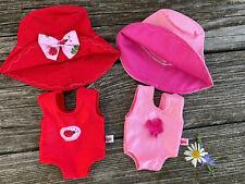 Badeanzug + Hut für my little Baby Puppe Gr. 32 cm Badeset Puppenkleidung