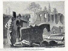 Antique print Caucasus / cemetery tartar tomb Tatars 1869