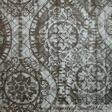 BonEful Fabric FQ Cotton Quilt Brown Cream Off White Damask Chiffon Flower Retro