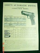 Colt LightWeight Commander Model .38 Super 9mm 45 cal. Component Parts brochure