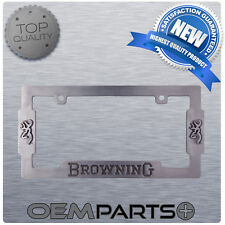 New Browning Double Buck Metal License Plate Frame Outdoors Hunting Fishing