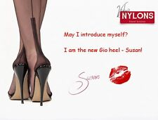 Garter Nylons Stockings, Black size 10 1/2, Fully Fashioned, Gio new Heel SUSAN