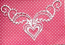 NEW 8 LARGE HEART FLOURISH CORNER DIE CUTS -WHITE TOPPER-WEDDING VALENTINE BABY