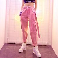 Women Straight Overalls Cargo Pants Street Hip Hop Loose Leisure Sweatpants