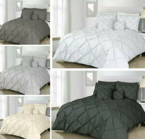 Pin tuck Pleated Alford Duvet Cover Set Bedding With Pillowcase All UK Sizes