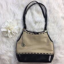 Auth RARE BRIGHTON Black Cream Leather Handbag Purse Hand Bag Stitched Silver