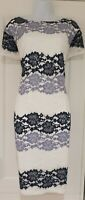 Womens Roman White Blue Lace Overlay V Back Occasion Stretch Pencil Dress 20.