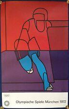"Valerio Adami: Kunstplakat OLYMPIA MÜNCHEN 1972 - ""LÄUFER"", 101cm x 64cm"