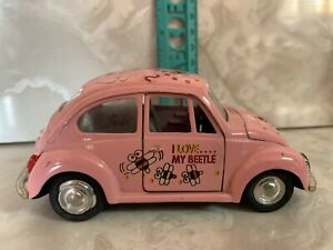 "Pink VW Bug Die Cast Car With ""I Love My Beetle"" Tampos"