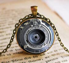 Vintage Camera Lens Cabochon Bronze Glass Chain Pendant Necklace kv14
