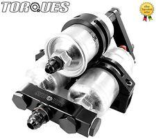 Twin Bosch 044 Fuel Pumps+ Bosch Filter Manifold Cradle Billet Assembly In Black