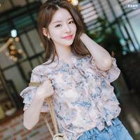 New Elegant Women Ruffle Bows Floral Chiffon Shirt Bell Sleeve Summer Blouse Top