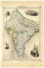 Old Vintage Map of British India richly illustrated Tallis 1851