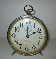 Antique Westclox Big Ben Peg Legs Alarm Clock Nickle Plated (Store #1)