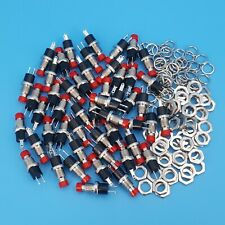 50pcs Pbs 110 Red Cap 7mm 2pin Off Mom Momentary Spst Mini Push Button Switch