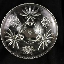 Vintage Glass Bowl Deco 30s Footed Raised Crystal Nut Candy Ornate Scalloped