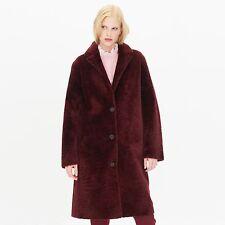 Sandro Sticky Sheepskin Coat in Burgundy Size:1 (S)  $2845  NWT