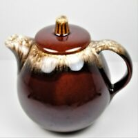 Hull Pottery Oven Proof Teapot 1 Quart Mirror Brown Drip Glaze USA Vintage