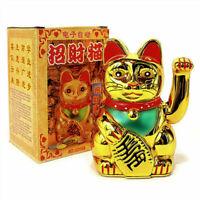 "LUCKY BECKONING CAT 5"" Gold Wealth Waving Kitty Maneki Shui Feng Neko E6N7 R7C3"