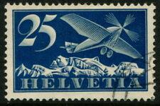 SWITZERLAND - 1934 AIR MAIL 25c BLUISH GREY & DEEP BLUE SG318a VFU Cv£75[A7518]*