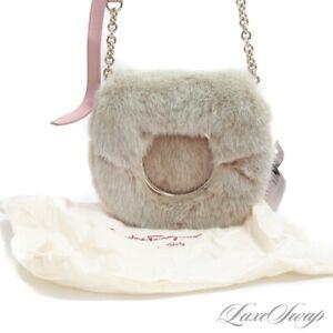 NWT Salvatore Ferragamo Made in Italy Vela Pink Mink Fur Crossbody Flap Bag NR