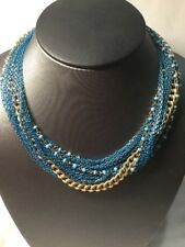 Turquoise Blue Beaded Necklace - Pretty Multi Strand Gold Tone Chain Metallic