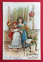 Prägedruck AK NEUJAHR 1906 KInder mit Blumen     ( 7570