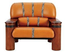 """41"""" W Arm chair soft Italian leather tan color waxed exotic wood metal accents"""