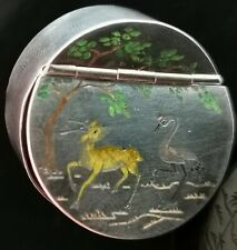 More details for antique chinese silver snuff box, inlaid, crane and deer