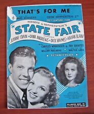 """That's For Me - from """"State Fair""""  - 1945 sheet music - Vocal Piano Guitar"""