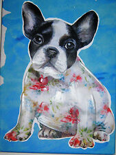 Boston Terrier Canvas Wall Art Print Mcfirst Hand Embellished Art Wrapped Canvas