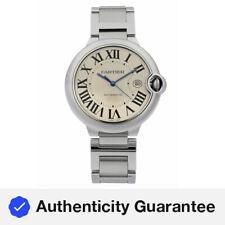Cartier Ballon Bleu Guilloche Dial de plata de acero automático para hombre Reloj W69012Z4