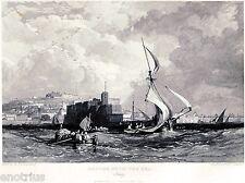 Napoli: Panorama dal Mare.Castel dell'Ovo e Sant'Elmo.Acciaio.Stampa Antica.1838