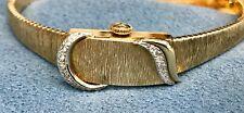 Baume Mercier solid 14K Yellow Gold and Diamond flip top Ladies Watch RUNS