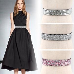 Women Ladies Slim Dresses Shiny Waist Belt Chain Crystal Diamond Rhinestone New