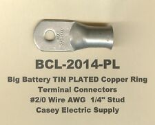 """10 TIN PLATED Copper Ring Lug Terminal Connector #2/0 Wire Gauge 1/4"""" Stud MOLEX"""