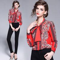 2019 Spring Summer Fall Runway Floral Print Collar OL Casual Women Shirt Blouse